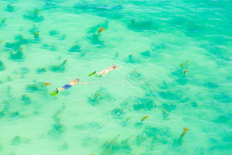 Η εναέρια άποψη, νέοι τουρίστες ζευγών που κολυμπούν με αναπνευτήρα στη μάσκα βουτά κάτω στοκ εικόνες