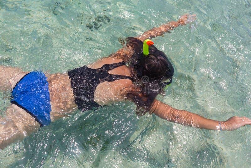 Η εναέρια άποψη της νέας γυναίκας στο φωτεινό μπικίνι κολυμπά στη διαφανή, μπλε θάλασσα Τοπ άποψη λεπτό να επιπλεύσει γυναικών επ στοκ φωτογραφία με δικαίωμα ελεύθερης χρήσης