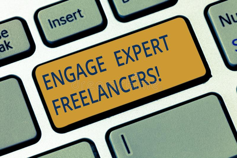 Η εννοιολογική παρουσίαση γραψίματος χεριών δεσμεύει ειδικό Freelancers Επιδεικνύοντας μισθώνοντας ειδικευμένοι ανάδοχοι επιχειρη διανυσματική απεικόνιση