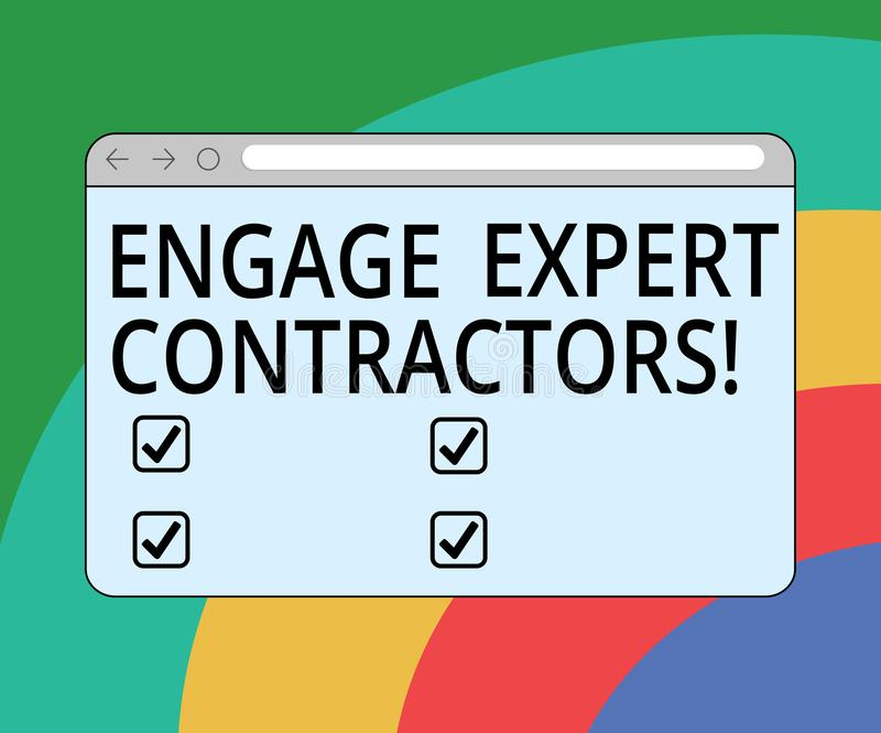 Η εννοιολογική παρουσίαση γραψίματος χεριών δεσμεύει τους ειδικούς αναδόχους Τα ειδικευμένα outworkers μίσθωσης κειμένων επιχειρη διανυσματική απεικόνιση