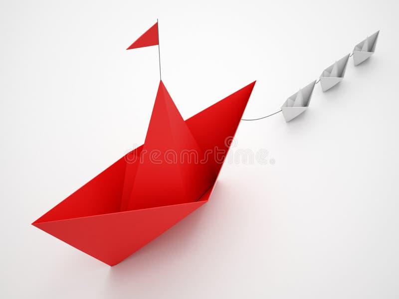Η ενότητα είναι δύναμη Μικρές βάρκες εγγράφου που ρυμουλκούν ένα μεγαλύτερο σκάφος Έννοια της ομαδικής εργασίας και της συμμαχίας στοκ εικόνα