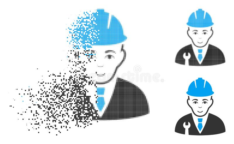 Η εξαφάνιση διέστιξε το ημίτονο εικονίδιο υπεύθυνων για την ανάπτυξη με το πρόσωπο διανυσματική απεικόνιση