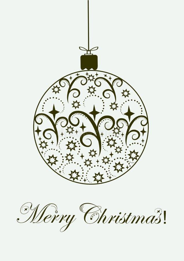 Η εορταστική σφαίρα Χαρούμενα Χριστούγεννας διακοσμεί την απεικόνιση ελεύθερη απεικόνιση δικαιώματος
