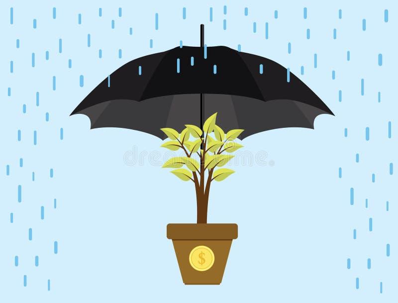 Η επένδυση επενδύει την ομπρέλα προστασίας προστατεύει το χρυσό νόμισμα δέντρων ελεύθερη απεικόνιση δικαιώματος