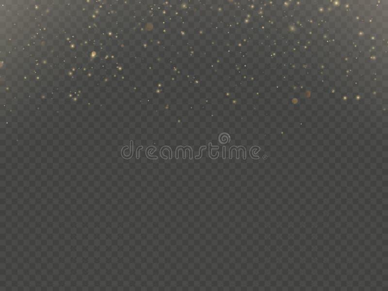 Η επίδραση επικαλύψεων μορίων ακτινοβολεί της χρυσής πυράκτωσης μαγικής λάμπει και της σκόνης EPS 10 αστεριών απεικόνιση αποθεμάτων