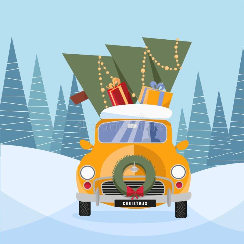 Η επίπεδη διανυσματική απεικόνιση κινούμενων σχεδίων του αναδρομικού αυτοκινήτου με παρουσιάζει και χριστουγεννιάτικο δέντρο στην διανυσματική απεικόνιση