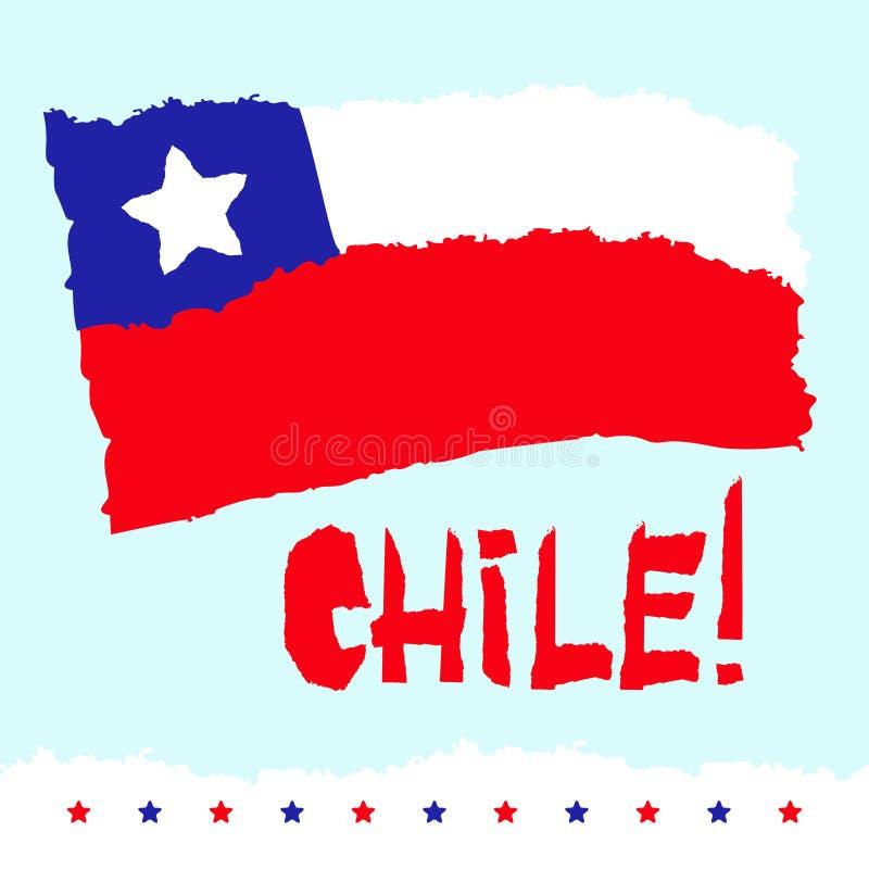 Η επίπεδη κάρτα σχεδίου patrias γιορτών με το Λα Χιλή Viva κειμένων στην εθνική κρατική σημαία χρωματίζει το εκλεκτής ποιότητας σ ελεύθερη απεικόνιση δικαιώματος