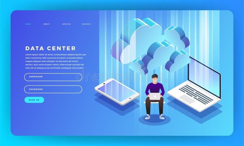 Η επίπεδη φιλοξενία κεντρικών υπολογιστών έννοιας σχεδίου ιστοχώρου σχεδίου προτύπων ενημερώνει διανυσματική απεικόνιση