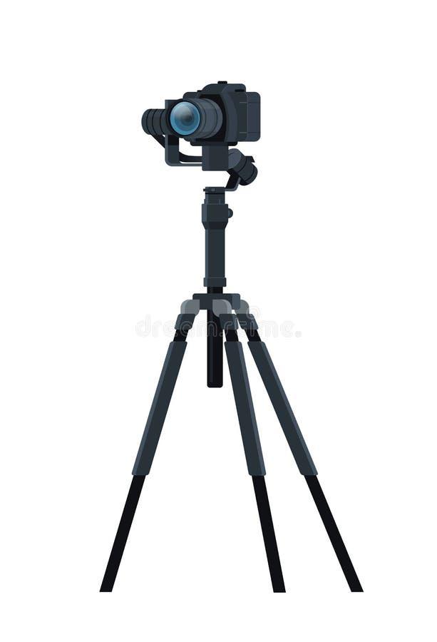 Η επαγγελματική κάμερα DSLR στην κατασκευή μετάλλων σταθεροποιητών τρίποδων παίρνει έναν κινηματογράφο φωτογραφιών ή μια τηλεοπτι διανυσματική απεικόνιση