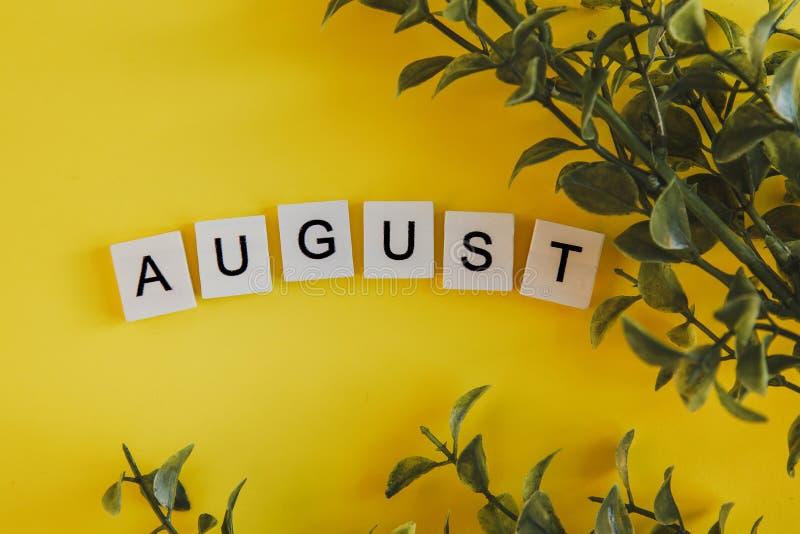 Η επιγραφή Αύγουστος στις επιστολές του πληκτρολογίου σε ένα κίτρινο υπόβαθρο με τους κλάδους ανθίζει στοκ εικόνες με δικαίωμα ελεύθερης χρήσης