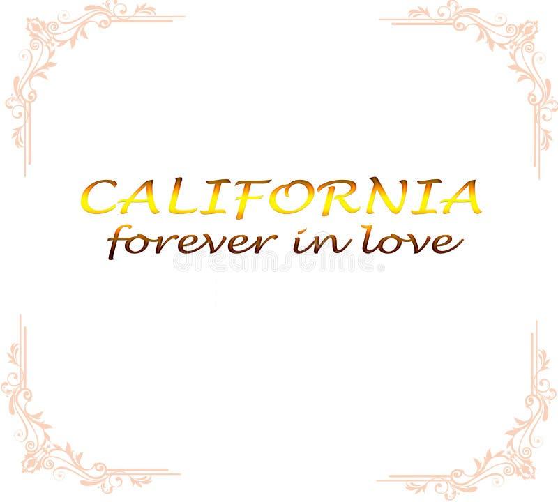 Η επιγραφή Καλιφόρνια σε ένα άσπρο υπόβαθρο λαμβάνεται σε ένα πλαίσιο απεικόνιση αποθεμάτων