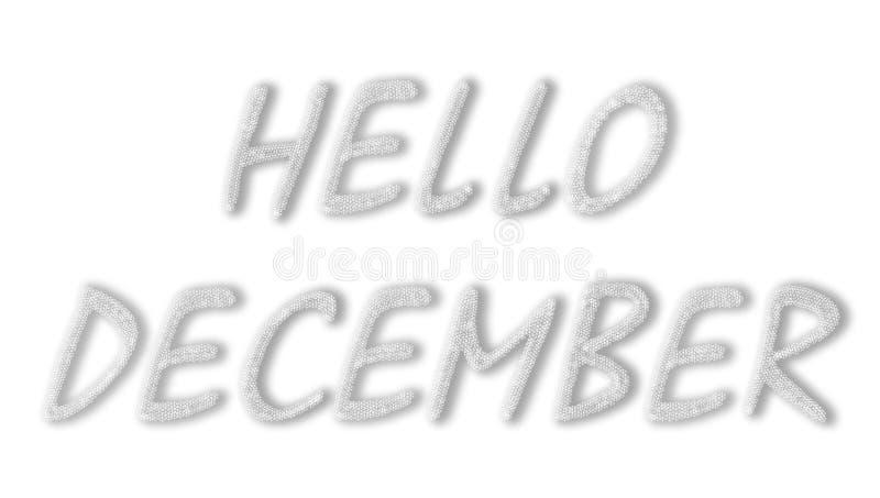 Η επιγραφή, που αποτελείται από snowflakes Γειά σου Δεκέμβριος διανυσματική απεικόνιση