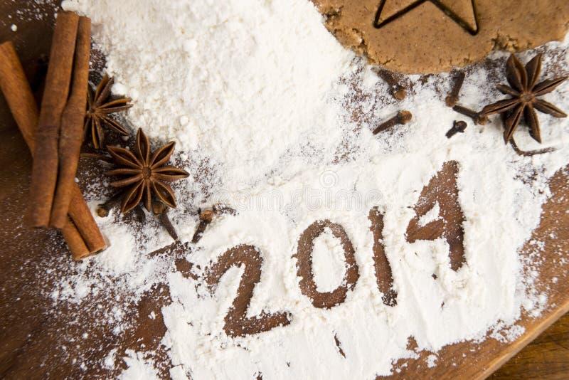 Η επιγραφή στο αλεύρι - 2014 στοκ φωτογραφίες με δικαίωμα ελεύθερης χρήσης
