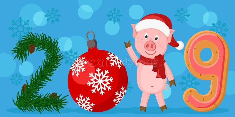 Η επιγραφή το 2019 με το δέντρο διακλαδίζεται, παιχνίδια, χοίροι και μελόψωμο ουρανός santa του Klaus παγετού Χριστουγέννων καρτώ διανυσματική απεικόνιση