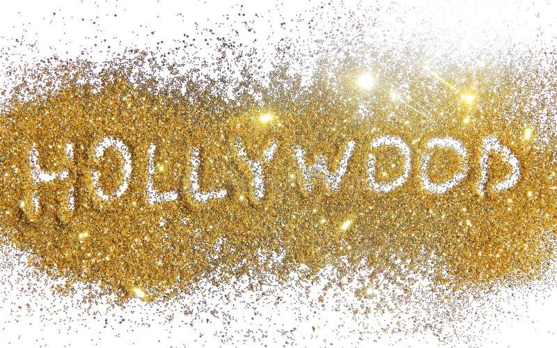 Η επιγραφή Hollywood σε χρυσό ακτινοβολεί σπινθήρισμα στο άσπρο υπόβαθρο στοκ φωτογραφίες με δικαίωμα ελεύθερης χρήσης
