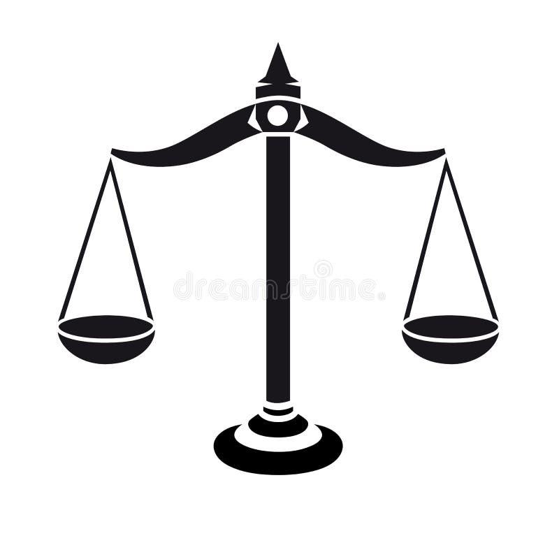 Η επιλογή 'Δικαιοσύνη' κλιμακώνει το μαύρο και το λευκό εικονίδιο Περίγραμμα συμβόλων ζυγοστάθμισης ελεύθερη απεικόνιση δικαιώματος