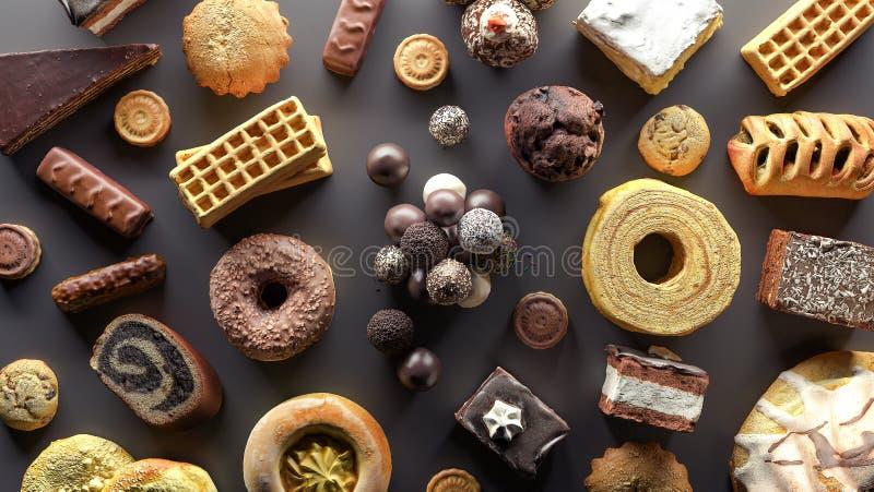 Η επιλογή των τροφίμων υψηλή στη ζάχαρη τρισδιάστατη δίνει την τρισδιάστατη απεικόνιση απεικόνιση αποθεμάτων