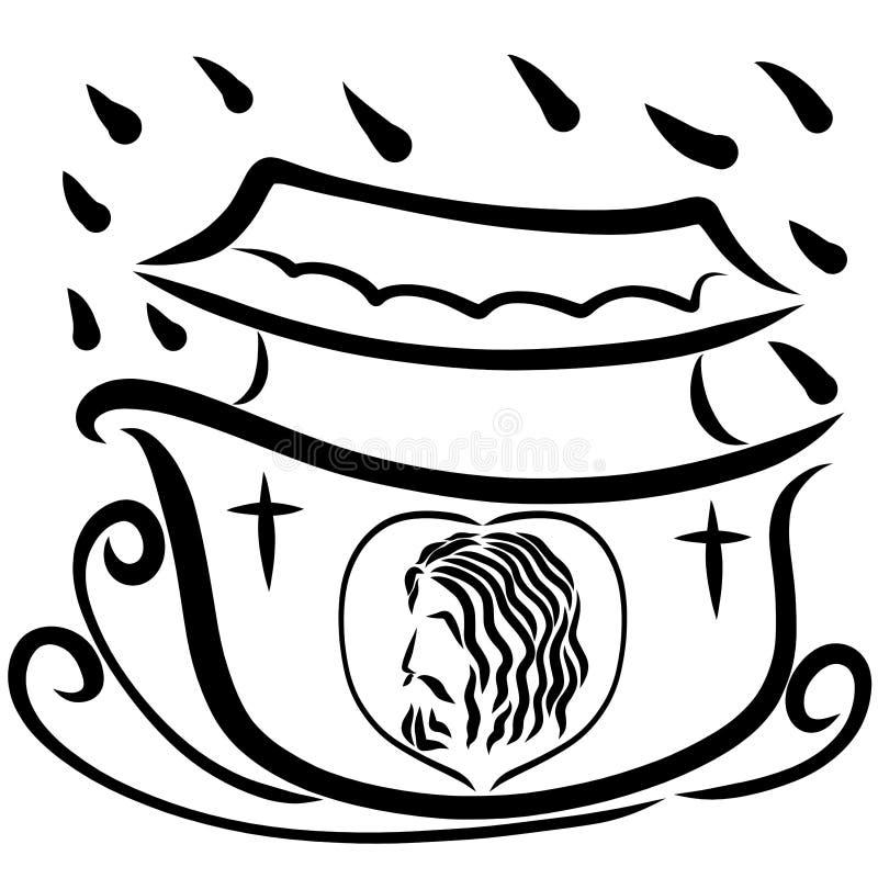 Η επιπλέουσα κιβωτός με την εικόνα του Gosod του Ιησού, σωτηρία διανυσματική απεικόνιση