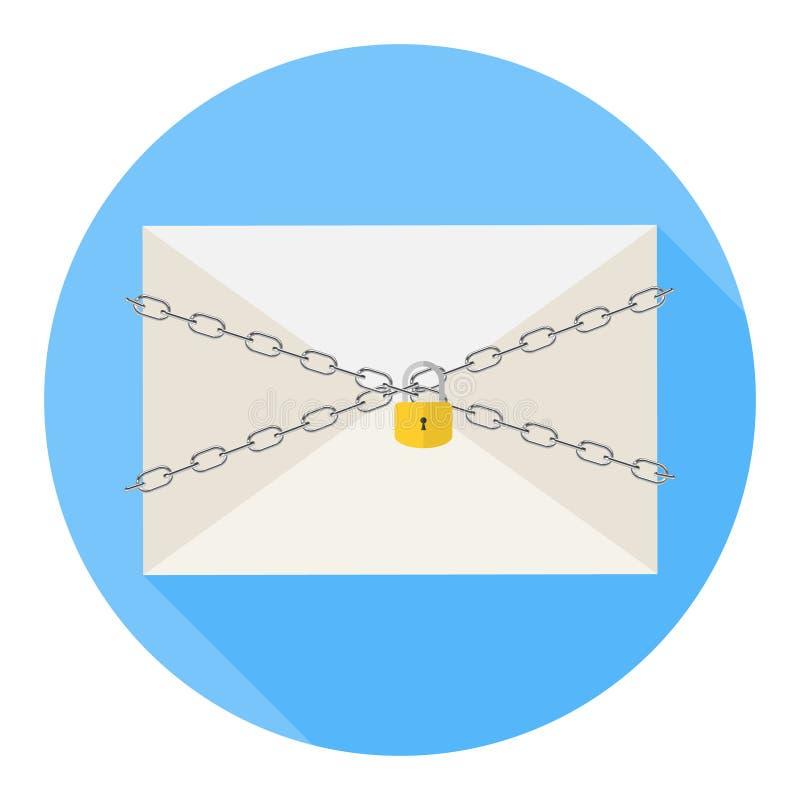 Η επιστολή είναι κάτω από την προστασία Μια αλυσίδα με μια κλειδαριά προστατεύει την επιστολή από το άνοιγμα Η έννοια της ασφάλει απεικόνιση αποθεμάτων