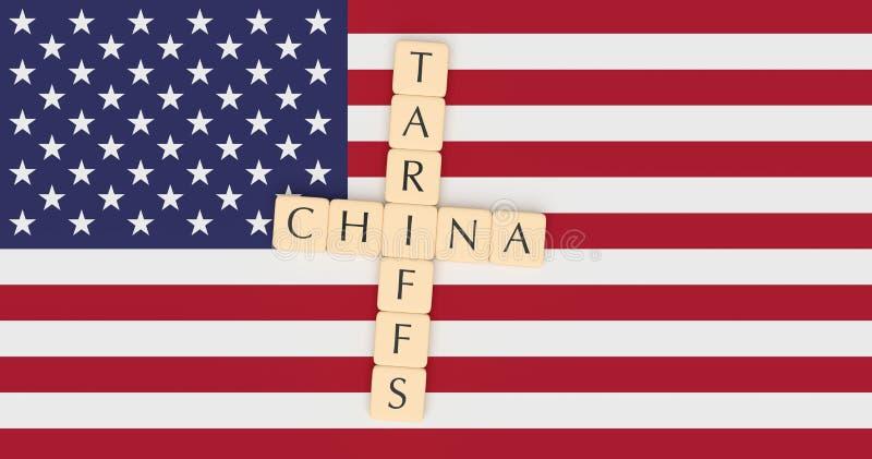 Η επιστολή κεραμώνει τα δασμολόγια και την Κίνα με την αμερικανική σημαία, τρισδιάστατη απεικόνιση ελεύθερη απεικόνιση δικαιώματος