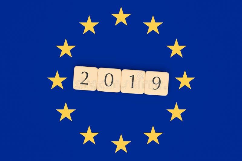 Η επιστολή κεραμώνει το 2019 με τη σημαία της ΕΕ, τρισδιάστατη απεικόνιση διανυσματική απεικόνιση