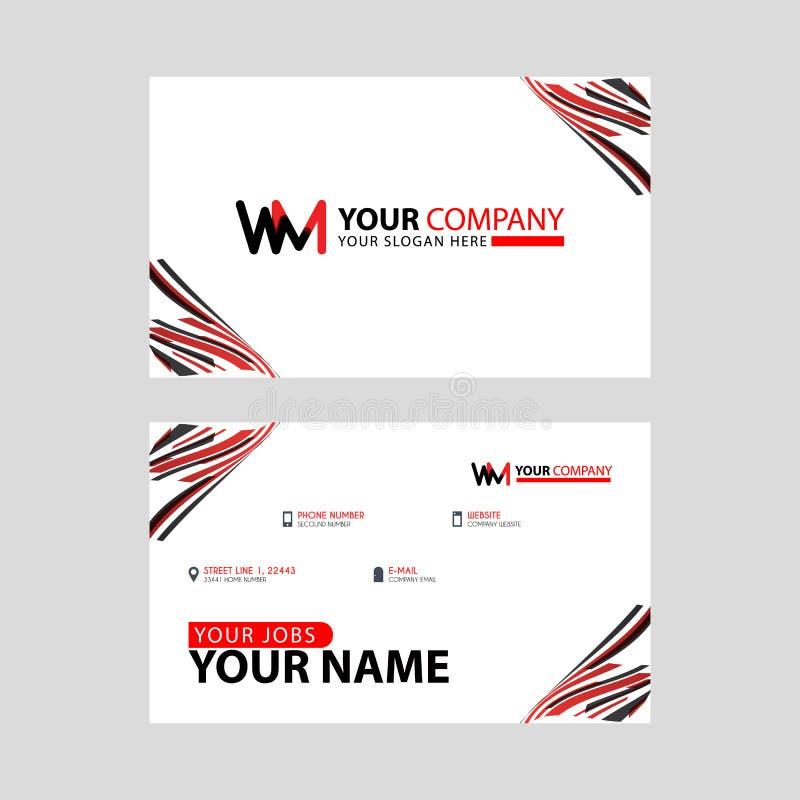 η επιστολή λογότυπων WM με τη διακόσμηση κιβωτίων στην άκρη, και μια επαγγελματική κάρτα επιδομάτων με ένα σύγχρονο και οριζόντιο διανυσματική απεικόνιση
