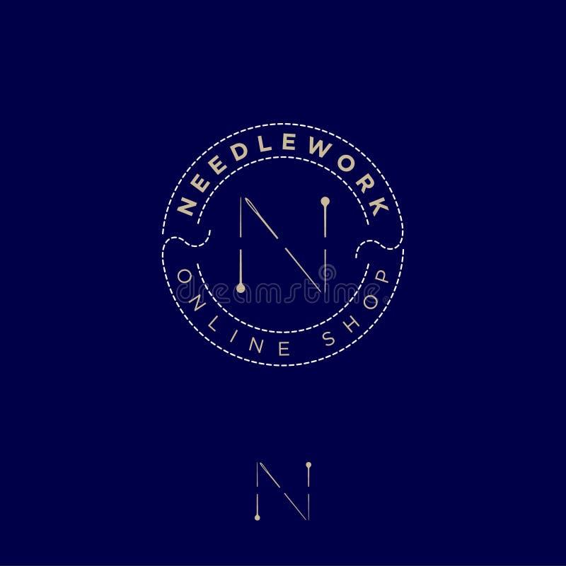 Η επιστολή Ν αποτελείται από καρφίτσες και μια βελόνα σε έναν κύκλο νημάτων Βιοτεχνία και προσαρμογή απεικόνιση αποθεμάτων