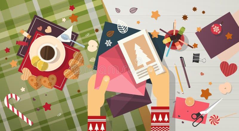 Η επιστολή λιστών επιθυμητών στόχων Χαρούμενα Χριστούγεννας στη ευχετήρια κάρτα Άγιου Βασίλη καλή χρονιά στέλνει διανυσματική απεικόνιση