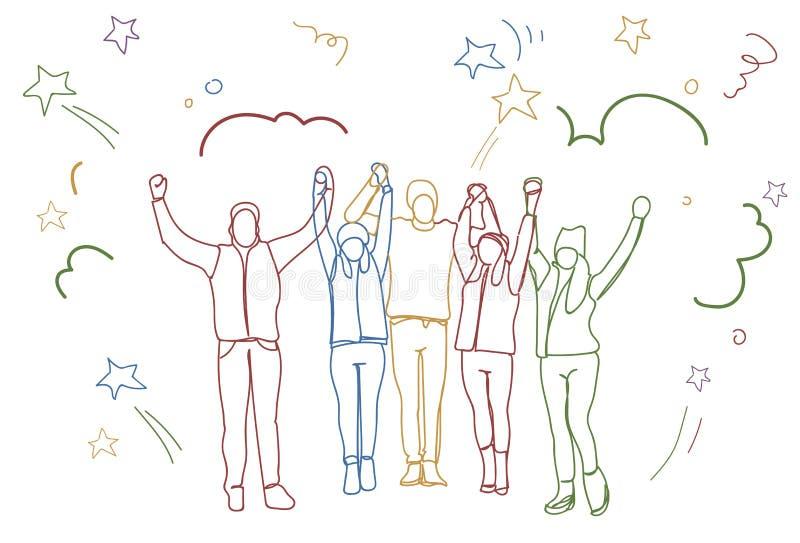 Η επιτυχής εκμετάλλευση ομάδας ανθρώπων που ανατρέφεται δίνει στην ευτυχή επιχειρησιακή ομάδα τις ζωηρόχρωμες σκιαγραφίες Doodle ελεύθερη απεικόνιση δικαιώματος