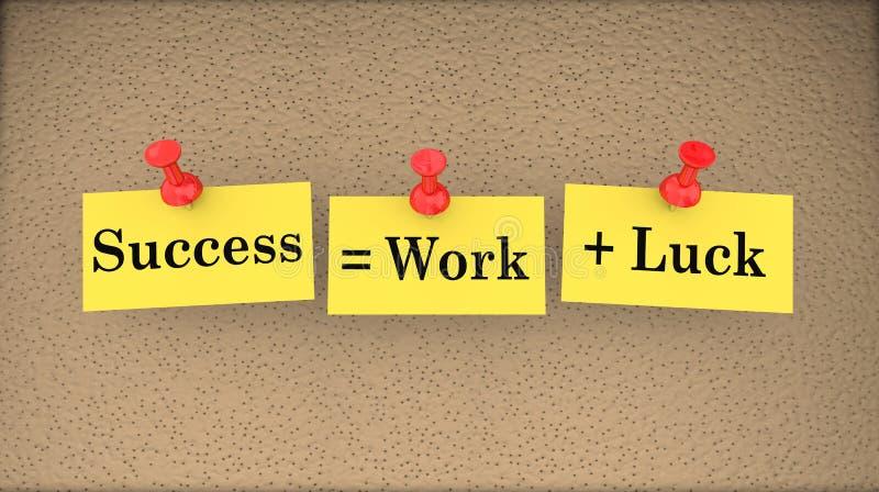 Η επιτυχία είναι ίση με την εργασία συν τον πίνακα δελτίων τύχης που λέει τρισδιάστατο Illustrat απεικόνιση αποθεμάτων