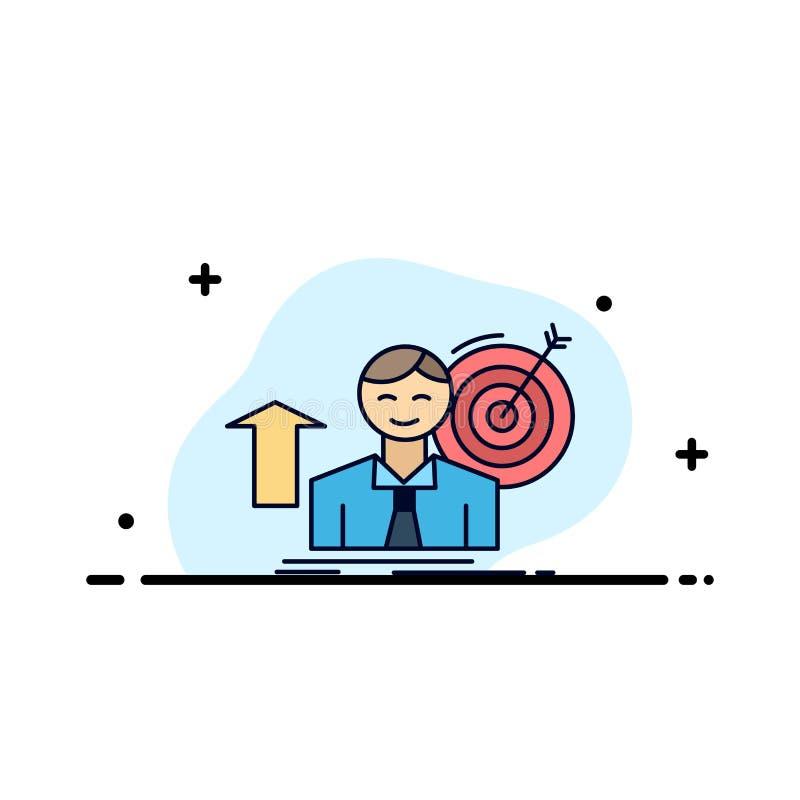 η επιτυχία, χρήστης, στόχος, επιτυγχάνει, επίπεδο διάνυσμα εικονιδίων χρώματος αύξησης διανυσματική απεικόνιση