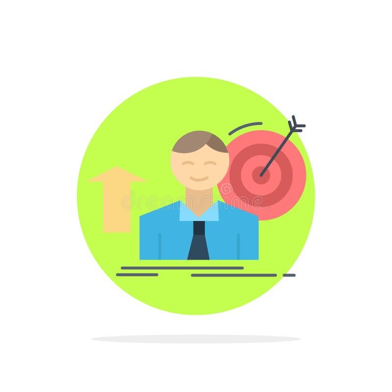 η επιτυχία, χρήστης, στόχος, επιτυγχάνει, επίπεδο διάνυσμα εικονιδίων χρώματος αύξησης απεικόνιση αποθεμάτων