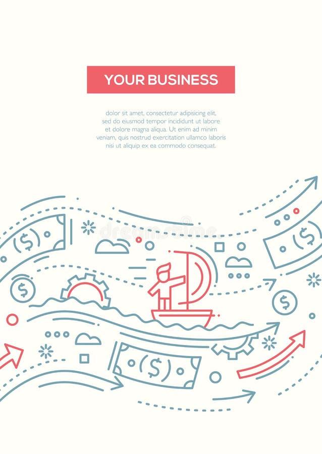 Η επιχείρησή σας - πρότυπο αφισών φυλλάδιων σχεδίου γραμμών A4 διανυσματική απεικόνιση