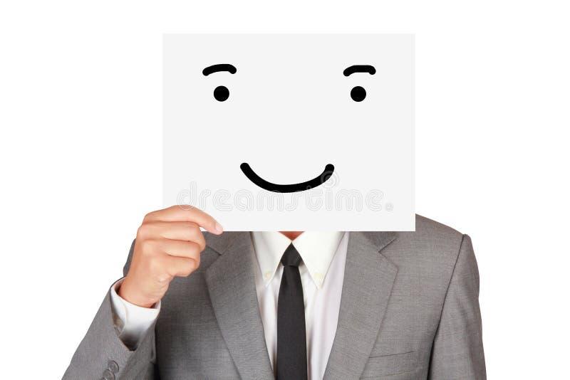 Η επιχείρηση έννοιας παρουσιάζει περίληψη προσώπου δορών χαμόγελου συγκίνησης εγγράφου στοκ εικόνες