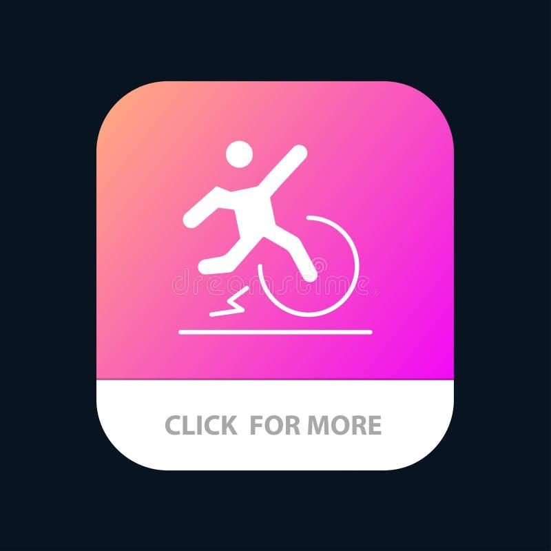 Η επιχείρηση, αλλαγή, άνεση, διαφυγή, αφήνει το κινητό App κουμπί Αρρενωπή και IOS Glyph έκδοση διανυσματική απεικόνιση