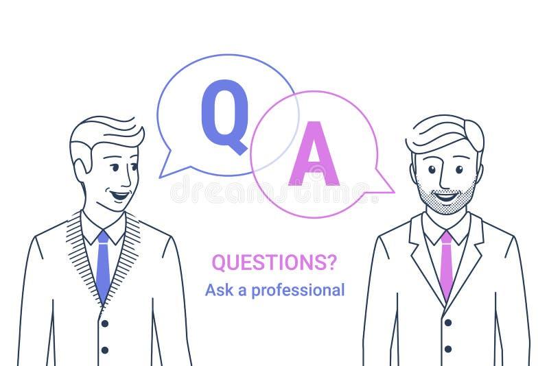 Η επιχείρηση διαβούλευσης συμβουλεύει Επιχειρηματίας και σύμβουλος με τις λεκτικές φυσαλίδες και τα γράμματα q και α ελεύθερη απεικόνιση δικαιώματος