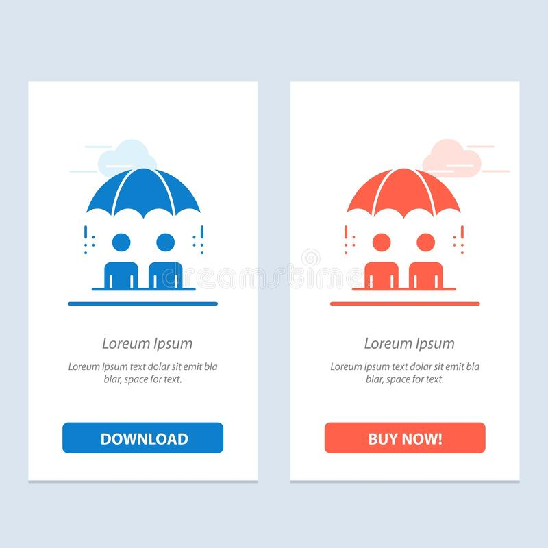 Η επιχείρηση, η διαχείριση, σύγχρονος, ο κίνδυνος μπλε και το κόκκινο μεταφορτώνουν και αγοράζουν τώρα το πρότυπο καρτών Widget Ι απεικόνιση αποθεμάτων