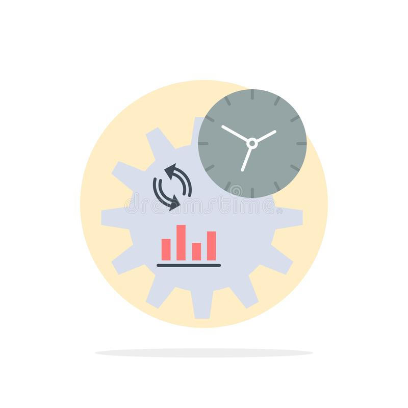 Η επιχείρηση, εφαρμοσμένη μηχανική, διαχείριση, επεξεργάζεται το επίπεδο διάνυσμα εικονιδίων χρώματος απεικόνιση αποθεμάτων