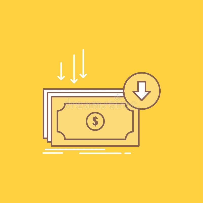 Η επιχείρηση, κόστος, περικοπή, δαπάνη, χρηματοδότηση, επίπεδη γραμμή χρημάτων γέμισε το εικονίδιο Όμορφο κουμπί λογότυπων πέρα α ελεύθερη απεικόνιση δικαιώματος