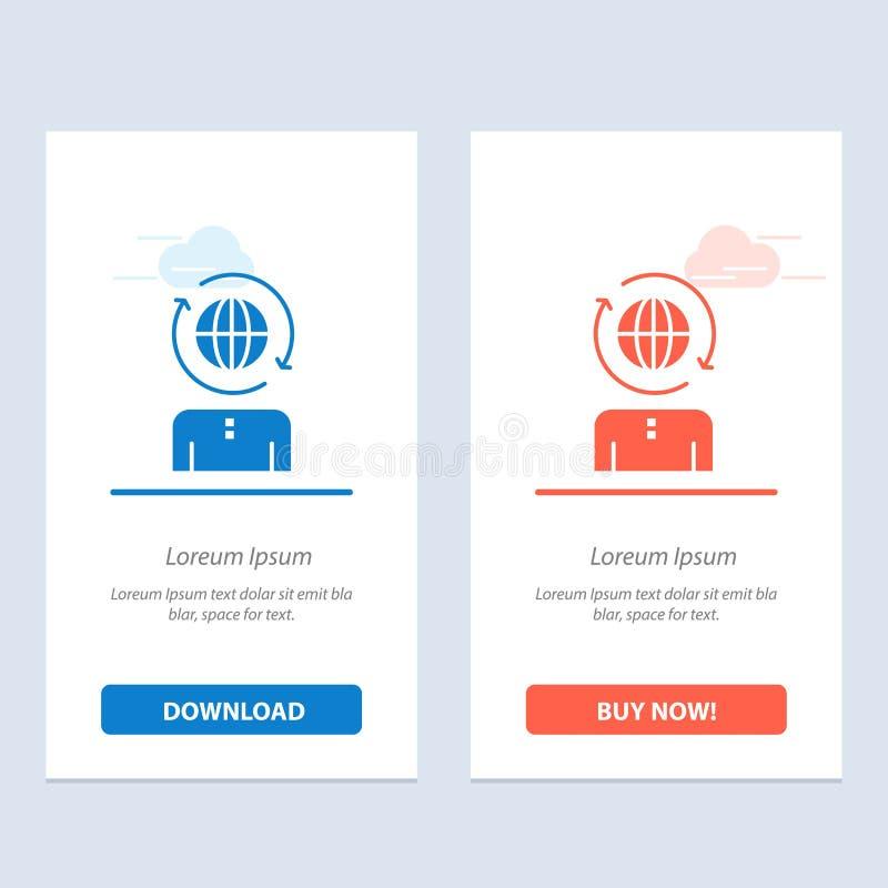 Η επιχείρηση, σφαιρικός, η διαχείριση, σύγχρονοι μπλε και το κόκκινο μεταφορτώνουν και αγοράζουν τώρα το πρότυπο καρτών Widget Ισ απεικόνιση αποθεμάτων
