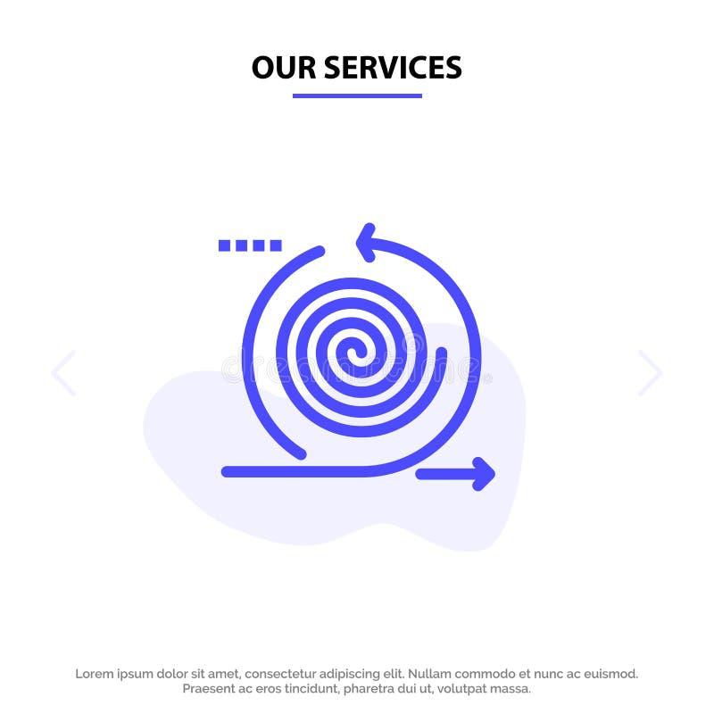 Η επιχείρηση υπηρεσιών μας, κύκλοι, επανάληψη, διαχείριση, στερεό πρότυπο καρτών Ιστού εικονιδίων Glyph προϊόντων απεικόνιση αποθεμάτων