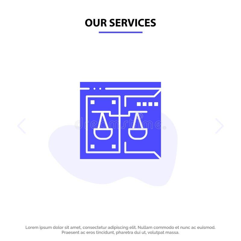 Η επιχείρηση υπηρεσιών μας, πνευματικά δικαιώματα, δικαστήριο, ψηφιακός, στερεό πρότυπο καρτών Ιστού εικονιδίων Glyph νόμου διανυσματική απεικόνιση