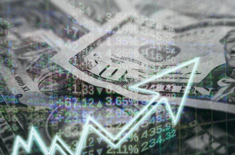 Η επιχείρηση & η χρηματοδότηση με τη γραφική παράσταση χρημάτων & αποθεμάτων που παρουσιάζει κέρδος κερδίζουν υψηλό - ποιότητα στοκ εικόνες με δικαίωμα ελεύθερης χρήσης
