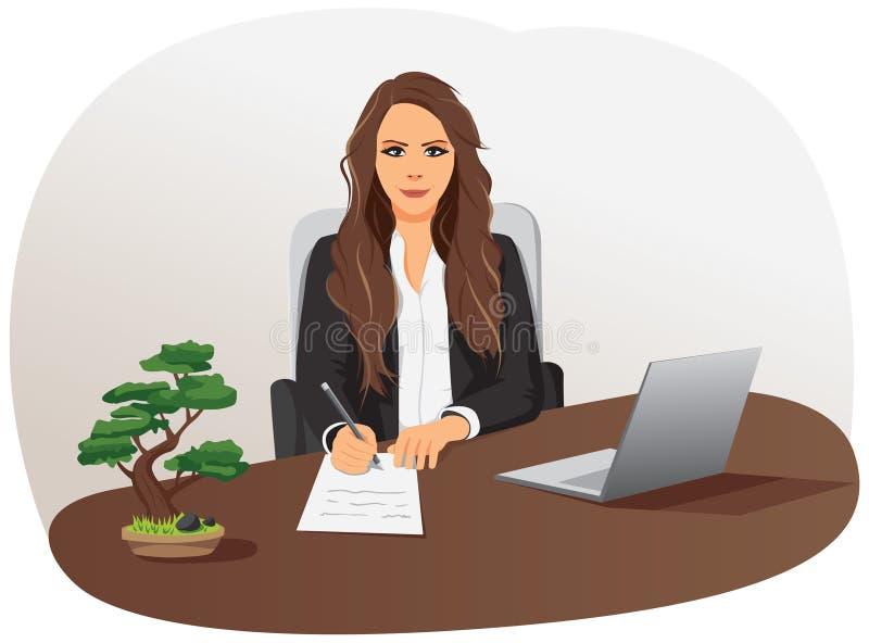 Η επιχειρηματίας γράφει το έγγραφο ελεύθερη απεικόνιση δικαιώματος