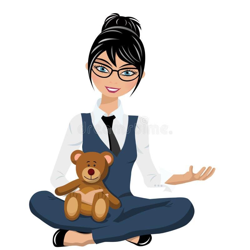 Η επιχειρηματίας κάθεται τα διασχισμένα όπλα και τα πόδια που κρατούν teddy αντέχουν απομονωμένος διανυσματική απεικόνιση