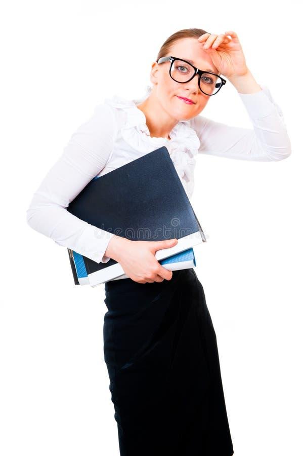 η επιχειρηματίας κουράζει τον πονοκέφαλο στοκ φωτογραφία