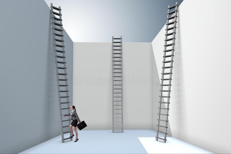 Η επιχειρηματίας που αναρριχείται σε μια σκάλα στη διαφυγή από τα προβλήματα απεικόνιση αποθεμάτων