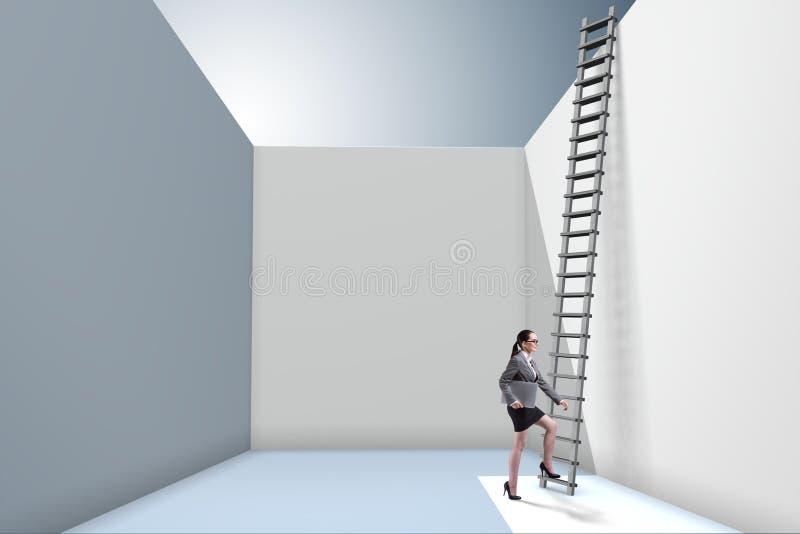 Η επιχειρηματίας που αναρριχείται σε μια σκάλα στη διαφυγή από τα προβλήματα διανυσματική απεικόνιση