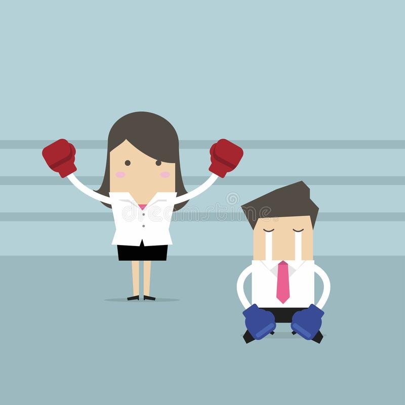 Η επιχειρηματίας που φορά τα εγκιβωτίζοντας γάντια που στέκονται στο εγκιβωτίζοντας δαχτυλίδι ως νικητής και νικημένος αντίπαλος  ελεύθερη απεικόνιση δικαιώματος