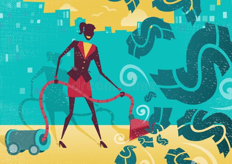 Η επιχειρηματίας σκουπίζει επάνω τα χρήματα με ηλεκτρική σκούπα απεικόνιση αποθεμάτων